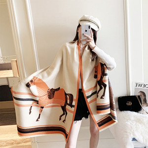 0SZsv Temperament autumn and winter cashmere double sided printing coach thickened Warm scarf warm scarf shawl women's neck
