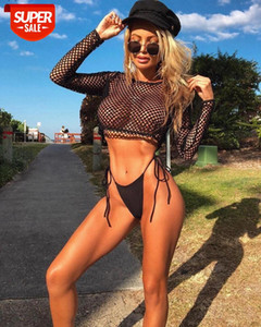2021 Long Sleeve Solid Hollow Out Mesh See Through Navel Tshirt Top Spring Summer Women Fashion Sexy Streetwear Outfits #as2W