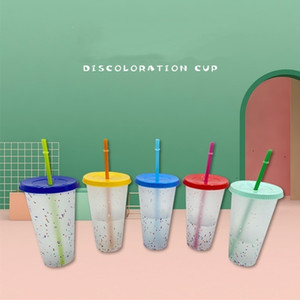Summer Beer Mugs 100PCS 24oz Color Changing Cup Magic Plastic Drinking Tumblers with Lid and Straw Reusable Cold Cups T500346