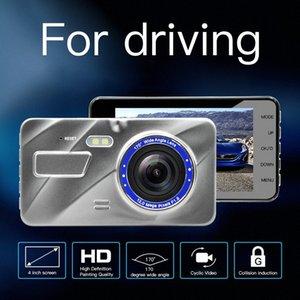 170 grados de ángulo ancho 4,0 pulgadas de doble lente HD 1080P registrador Ver Tacógrafo la cámara trasera del coche DVR HD Video Recorder datos 5 72gY #