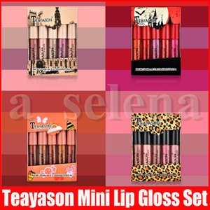 Teayason Lippen Make-up Set 5pcs Mini Matte Flüssigkeit Lippenstift lipkit Lip Gloss Nude Farbe Lipgloss Make Up Kit 4 Styles