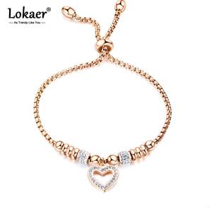 Lokaer titanio del mosaico Crytal Cuore Bracciali Charm per le ragazze in oro rosa catena regolabile Bracciale B20053