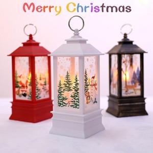 8 stili Lanterna Fiamma Natale Babbo Natale piccola decorazione luminosa della lampada Candeliere pupazzo di neve Elk Squisito creativo decorazione FWE2723