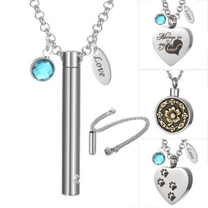 10pcs lot New Stainless Steel Cremation Jewelry Cremation Urn Vial Tube Pendant Necklace Memorial Keepsake Jewelry VA-1018*101