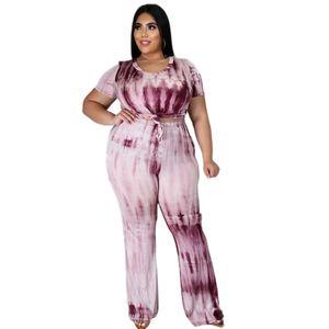 Tie Dye Femmes Designer Survêtements Nouveau manches courtes Imprimer Hauts mode Sport Plus Size Femme 2 Set Piece