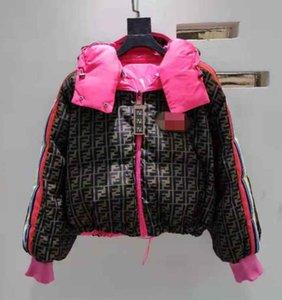 La mujer de la chaqueta chaqueta de invierno de las mujeres nuevo diseño para mujer mismas chaquetas estrellas Europa-América carta FF capucha Plumónes algodón acolchado abrigo corto