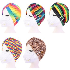 Women Indian Turban Hat Leopard Rainbow Tie Dyed Color Head Wrap Stretchable Chemo Pleated Cap With Face Mask Buttons Fashion 2021 G12304