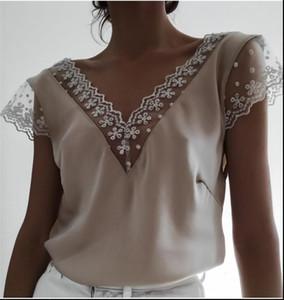 Moda donna estate pizzo top manica corta casual camicetta allentata elegante scollo a V Debardeur femme signore camicia classica streetwear