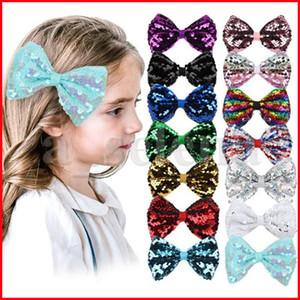 4inch Glitter Sequins Hairpin Bow Hair Clip Baby Girls Bowknot Gradient Rainbow Hair Pins Sequins Barrette Party Hair Accessories Headress