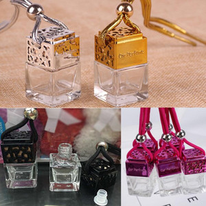 4 colors Cube perfume bottle Car Hanging Perfume Rearview Ornament Air Freshener For Essential Oils Diffuser Fragrance Empty Glass Bottle