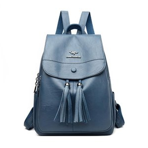 Leather Luggage Tag Womens Double Backpack 2020 New Womens Multi-Functional Shoulder Bag Fashion Tassel Travel College Students Backpack