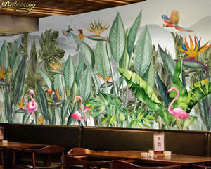 beibehang Custom 3d wallpaper mural hand painted tropical rain forest Southeast Asia plants flowers and birds background wall