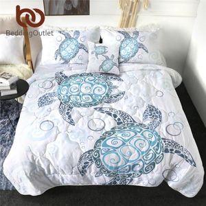 BeddingOutlet Turtles Quilt Set Tortoise Summer Blanket Marine Animal Bedding Set 4pcs Cartoon Blue Air-conditioning Comforter