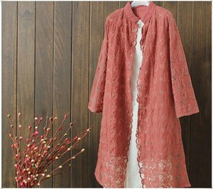 2021 Women Fashion Coat Retro Summer Style Ladies Solid Cotton Outwear Loose Long Lace Trench Coat for Women Vintage Cardigan