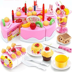 75Pcs Pretend Play Fruit Cutting Birthday Cake Kitchen Food Toys Pink Kid's Simulation Toy Girls Gift for Kids LJ201211