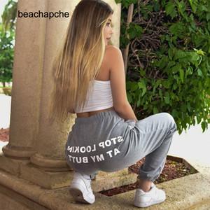 Beachapche suor calça mulheres letra parar olhando meu bumbum sweatpants corredores dropshipping hip hop preto cintura alta 201103