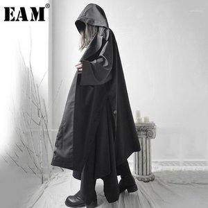 Женские куртки [EAM] Свободные подходящие черные вентиляционные вентиляторы Сплит суставов Большой размер Длинная куртка с капюшоном Женщины Пальто моды прилив весна 2021 1S6621