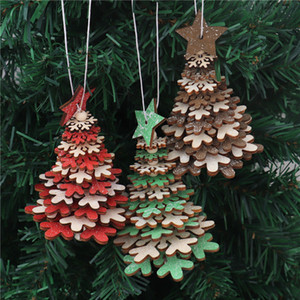 New Wooden Christmas Pendant Creative Five-pointed Star Snowflake Bell Christmas Tree Hanging Small Ornaments Party Colorful Decor VT1816