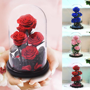 New Arrival Eternal Preserved Rose with Glass Dome 5 Flower Heads Rose Forever Love Wedding Favor Party Gifts for Women