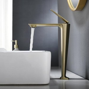 Brushed Gold Brass Bathroom Washbasin Faucet Cold And Hot Mixer Water Taps Deck Mounted Single Hole Sinle Handle