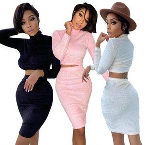 2020 fall winter women long sleeved skirt set casual double faced velvet two piece set dress for women new style