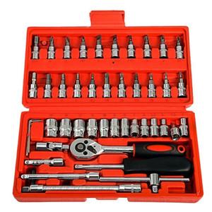 46Pcs Socket Wrench Set DIY Car Repair Tool Spanner Wrench Socket Set Car Torque Combo Repairing Tools With Storage Box