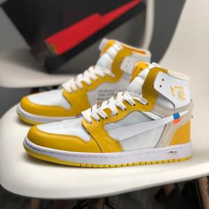 Nike Air Jordan 1 x OFF-WHITE AJ1 Branded Uomini PVC trasparente piatto scorrevole Sandali estate femminile spiaggia del sandalo del progettista delle donne Lettera Suola Casual