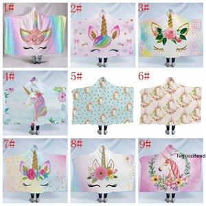 unicorn Cloak Blankets 3D printed cartoon winter warm Sherpa Fleece Hooded Blanket Kids Plush Carpet Mat Rug Christmas 130*150cm FFA1323 20p