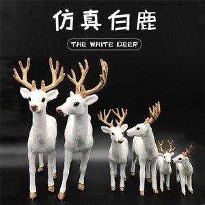 Simulación SIKA DEER Muebles para el hogar Muebles de felpa Ciervos blancos de Navidad Muñeca Muñeca Elk Modelo de animales Decoraciones de vacaciones