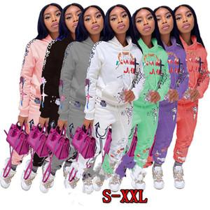 Donna 2 Parte dell'arco stampato modo Lettera maniche lunghe con cappuccio Pullover Pantaloni Outfits signore Via Persone casuale New Fall 2020