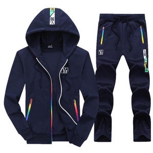 2020 new spring and autumn sports sweater men's daily outdoor mens tracksuit long-sleeved stand-up collar set printed color striped cardigan