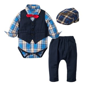 Baby Suits Newborn Boy Clothes Vest + Romper + Hat Formal Clothing Outfit Party Bow Tie Clothes Outfit Birthday Boy Romper Dress LJ201023