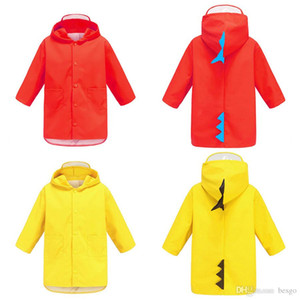 Portable Boys Girls Windproof Waterproof Wearable Poncho Kids Cute Dinosaur Shaped Hooded Children Yellow Red Raincoats DH0752 T03