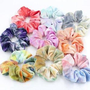 Галстук окрашенная Hairbands Женщины волос Scrunchies Velvet Эластичные Hairbands Эластичный Связи волос Канаты хвостик Holder Девочки Аксессуары 9 цветов D4944