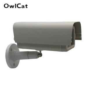 Cubierta exterior de aluminio / plástico Casa camara de vivienda protege el caso w / brakit plástico Soporte para videocámaras de vigilancia