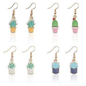 2020ucculent Plant Cactus Earrings For Women Cartoon Tiny Gold Enamel Plant Drop Earrings Jewelry Wholesale