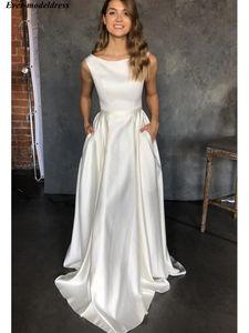 2020 Simple Satin Wedding Dresses With Pocket Elegant Sleeveless O Neck Floor Length A Line Bridal Gowns Bride Dress Cheap Customized