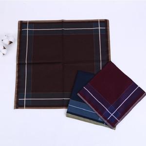 100% Cotton Men Square Plaid Sweat Haskerchiefs da uomo classico reticolo modello vintage tasca vintage asciugamano a mano hanky 43 x 43 cm 201028