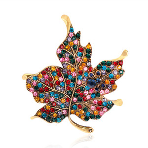 Crystal maple leaf brooch gold diamond dress business suit brooches scarf buckle corsage women men fashion jewelry will and sandy gift