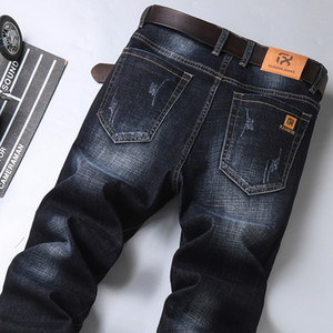 Jeans da uomo 2021 Autumn New Mens Classic Blue Black Black Slim-Fit Jeans Business Cotton Elastico Elastico Regular Fit Denim Pants Maschio Brand TR