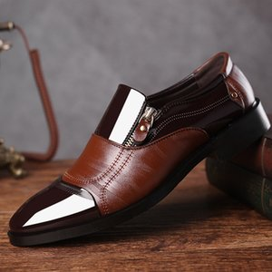 High Quality Man Oxford Shoes Loafers Mens Pointed Toe Dress Shoes Men Leather Brown Men Formal Patent Leather Sapato Social Heren Schoenen