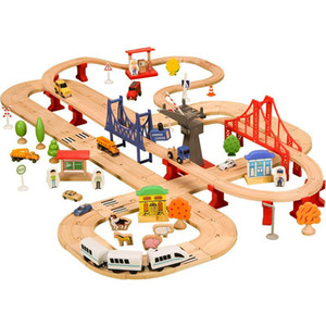 Wooden Track Railway Train Toy Car Children Puzzle Slot Rail Transit Double Track Electric Train Circuit Voiture Toy For Kids