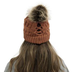 16style Criss Cross Pom Pom Beanies femmes fille hiver Bonneterie Chapeaux Bonnet Outdoor Ponytail détachable Pompon Croix Bonnet KKA1776