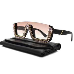 Trending 2020 Rhinestone Square Sunglasses Women Pink Sun Glasses Vintage Elegant Ladies Shades Sunglases UV400