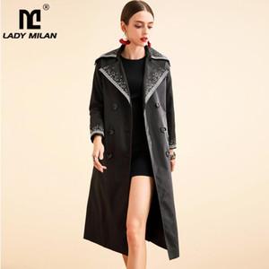 Lady Milan Frauen Runway Trench Coats Turn Down Kragen mit langen Ärmeln Stickerei Zweireihig Mode Mäntel Overcoat