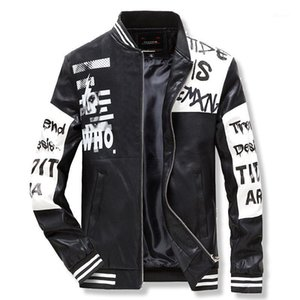 2020 New Fashion Trend Printing Leather Jacket Slim Casual Hip-hop Mens Leather Jacket1