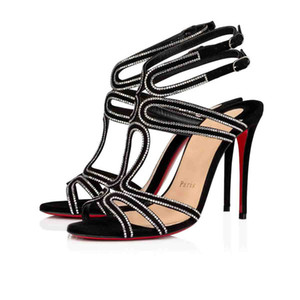 Luxey Femmes Sandales de fond Red Sandales Soirée, talons hauts Renée Strass Rinestone Pompes Sexy Femmes Sandal Fête de mariage Chaussures
