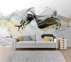 Custom 3D Mural Wallpaper Simple Abstract Ink Landscape Background Wall Painting Living Room Sofa Bedroom Backdrops Wall