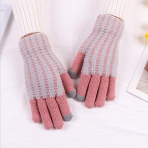 Winter Warm Thick Touch Screen Work Gloves Women'S Cashmere Wool Knitted Gloves Writing Mittens Mobile Phone Tablet Pad