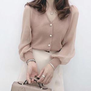 Sutimine 2021 Yeni Sprint Kadınlar Uzun Kollu Düğme Şifon Bluzlar Kadın Moda V Yaka Gömlek Bayanlar Gevşek Rahat Top Giysileri